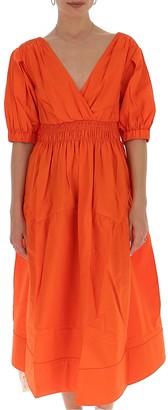 Self-Portrait Puff Sleeve Midi Dress