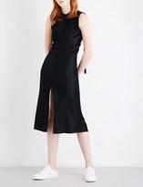 Helmut Lang Ruched-detail satin dress