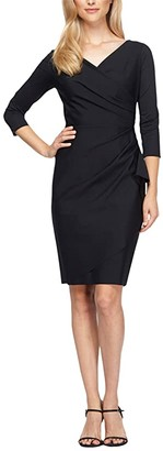 Alex Evenings Short Slimming Sheath Dress with Surplice Neckline 3/4 Sleeves and Ruffle Skirt (Black) Women's Clothing