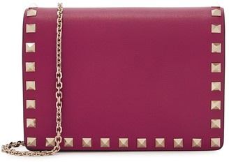 Valentino Garavani Rockstud Fuchsia Leather Wallet-on-chain