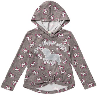 Jenna & Jessie Unicorn Long Sleeve Knot Hooded Top (Little Girls)
