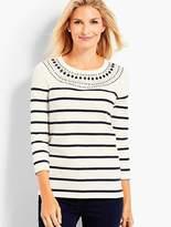 Talbots Embellished Stripe Pullover
