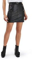 Topshop Women's Belted Faux Leather Moto Skirt