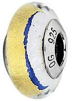 Prerogatives Blue with Gold & White Italian Murano Glass Bead