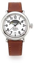 Shinola Runwell Moon Phase Stainless Steel & Leather Strap Watch