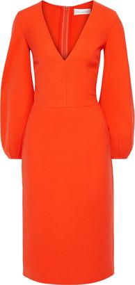 Oscar de la Renta Gathered Wool-blend Midi Dress