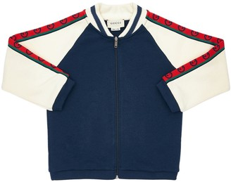 Gucci Zip-up Cotton Sweatshirt W/ Logo Bands