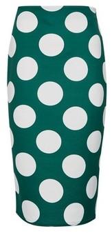 Dorothy Perkins Womens Green Spot Print Pencil Skirt, Green