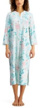 Miss Elaine Floral-Print Long Zip Front Robe