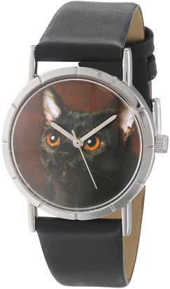 Whimsical Watches Bombay Cat Black Leather and Silvertone Photo Unisex Quartz Watch with White Dial Analogue Display and Multicolour Leather Strap R-0120037