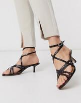 Who What Wear Pamela strappy toe loop ankle fastening sandals in black