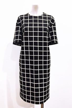 Marimekko Charlotta Iso Ruutu Check Print Straight Cut Dress - 38 - White/Black