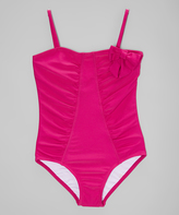 Beach Rays Magenta Ruched Bow-Accent One-Piece - Girls