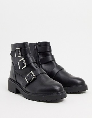 London Rebel flat buckle boots in black