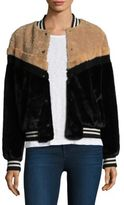 Free People Mixed Faux Fur Bomber Jacket