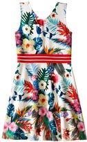 Us Angels Printed Pique V-Neck Tank Dress w/ Flare Skirt (Big Kids)