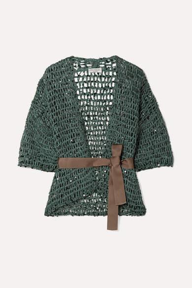 Brunello Cucinelli Belted Sequin-embellished Open-knit Cardigan - Petrol
