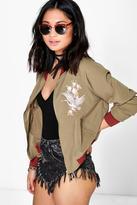 Boohoo Petite Alyssa Embroidered Bomber Jacket