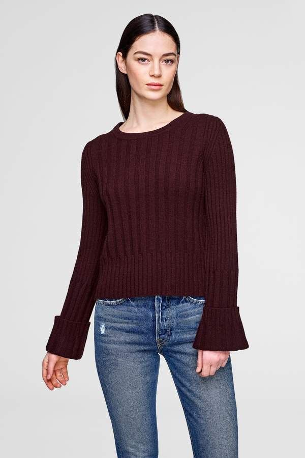 White + Warren Wide-Rib Cuffed Sweater