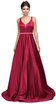 Dancing Queen - Classic Long Satin Prom Dress with V-back and Plunging Neckline 9754