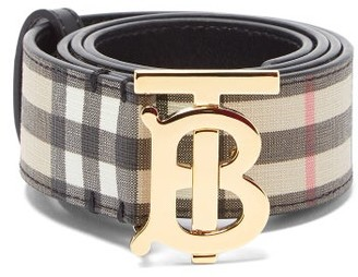 Burberry Tb-buckle Check-leather Belt - Beige Multi