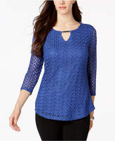 JM Collection Petite Crochet Keyhole Top, Created for Macy's