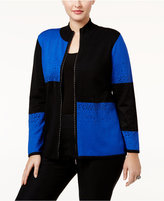 Belldini Plus Size Colorblocked Cardigan