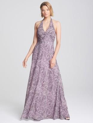 Halston Ruched Halter Gown