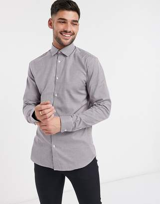 Selected slim fit easy iron smart gingham shirt in navy