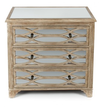 Home & Giftware Lattice Mirrored 3 Drawer Chest