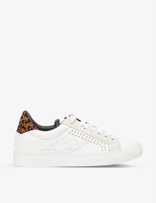 Zadig & Voltaire ZV1747 leopard-print heel leather trainers