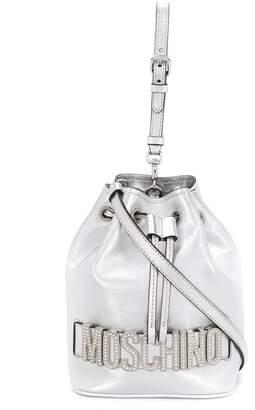 Moschino Logo-Plaque Metallic Bucket Bag