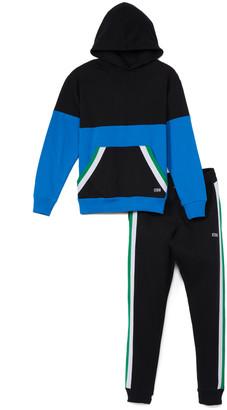 Beverly Hills Polo Club Boys' Sweatpants DIRECT - Direct Blue & Black Fleece Hoodie & Black Striped Joggers Set - Toddler & Boys