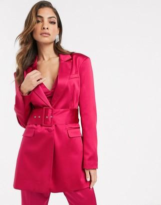 Asos Design DESIGN belted suit blazer in satin-Pink