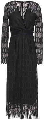 Just Cavalli Velvet-trimmed Fringed Guipure Lace Midi Dress