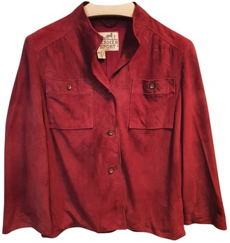 Hermes Red Leather Top for Women Vintage