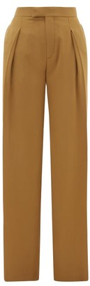 Chloé High-rise Pleated Silk Wide-leg Trousers - Khaki
