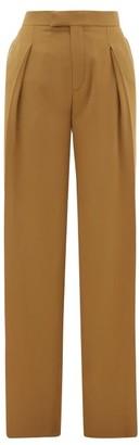 Chloé High-rise Pleated Silk Wide-leg Trousers - Womens - Khaki