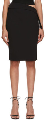 Thierry Mugler Black New Tech Scuba High-Slit Skirt