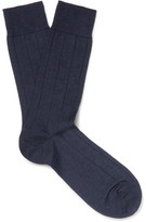 Marcoliani - Ribbed Cashmere-blend Socks - Midnight blue