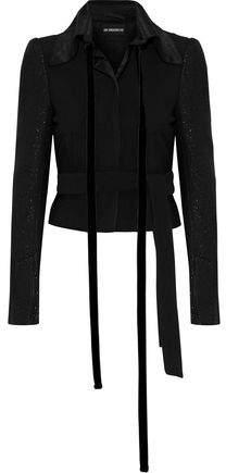 Ann Demeulemeester Metallic Velvet-Trimmed Wool-Blend Jacket