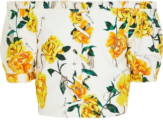 River Island Girls white floral lace-up bardot top