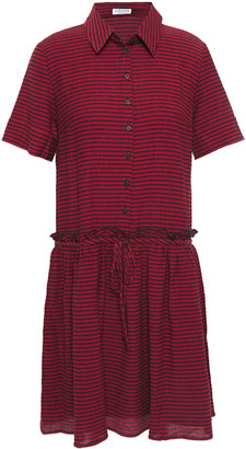 Claudie Pierlot Gathered Striped Woven Mini Shirt Dress