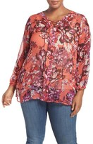 Lucky Brand Floral Print Lace-Up Blouse (Plus Size)