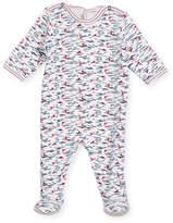 Petit Bateau Back-Snap Wave-Print Footie Pajamas, Size Newborn-9 Months