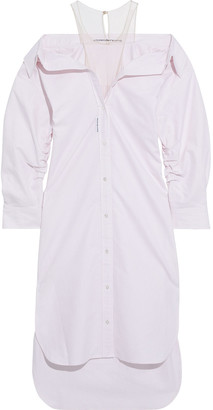 Alexander Wang Tulle-paneled Striped Cotton-oxford Shirt Dress