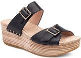 Dansko Selma Leather Double Banded Buckle Detail Wedge Slide On Sandals