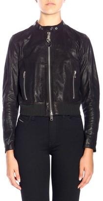 Diesel Jacket L-lyssa-g Style Biker Jacket In Leather With Zip
