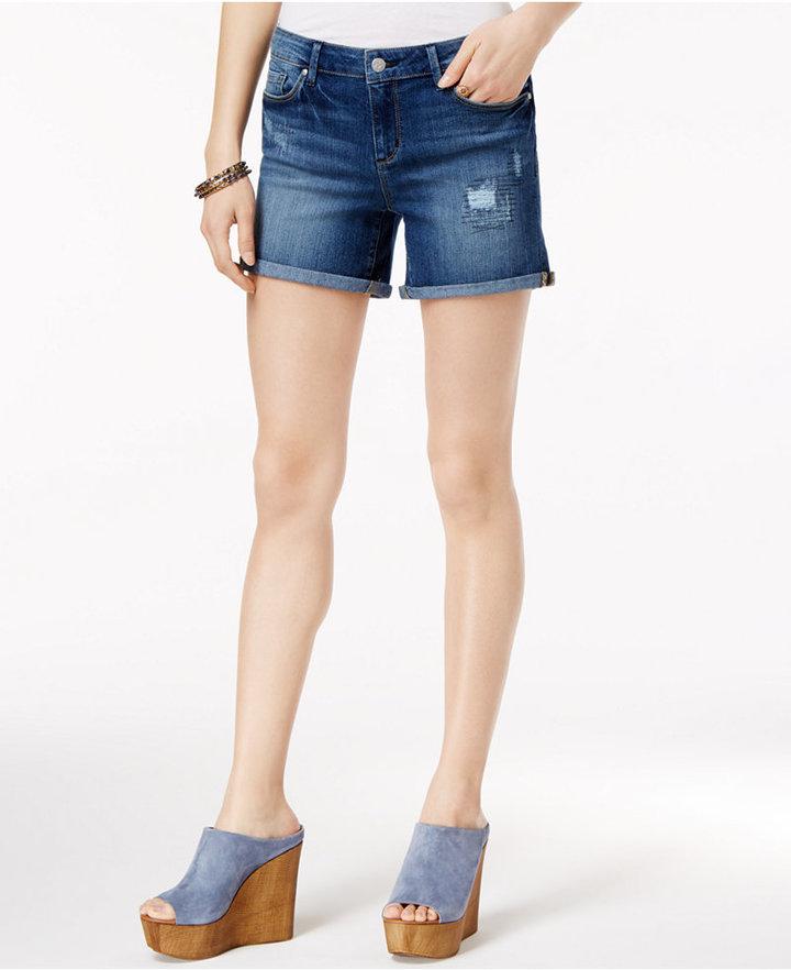 Jessica Simpson Maxwell Cuffed Denim Bermuda Shorts