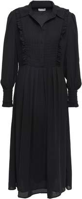Claudie Pierlot Randy Ruffle-trimmed Crepe De Chine Midi Shirt Dress